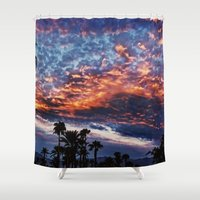 coachella Shower Curtains featuring Coachella Sky by Jay Hooker Designs