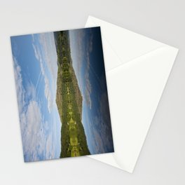 Stillness and clear reflections at sunrise on Grasmere, Lake District, Cumbria, UK Stationery Cards