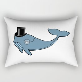 Whale Wearing Top Hat Rectangular Pillow