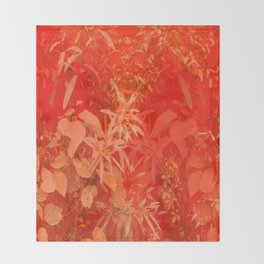 Beautiful red foliages - illustration of garden Throw Blanket