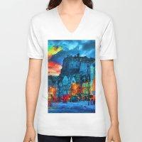 edinburgh V-neck T-shirts featuring Edinburgh Evening by E.M. Shafer