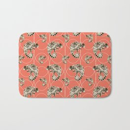 Chameleon Oneness in Midnight Vintage Psychedelic Salmon Space Bath Mat