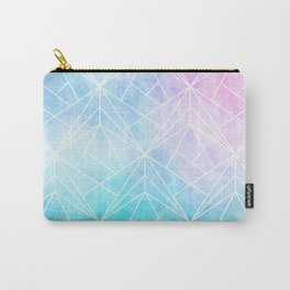 Geometric White Pattern on Watercolor Background Carry-All Pouch