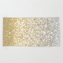 Gold and Silver Glitter Ombre Beach Towel