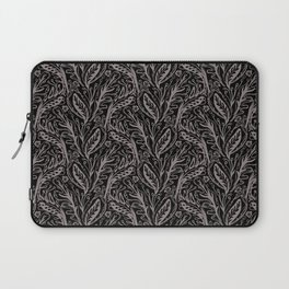 Modern Floral Leaf Nature Pattern, Monochrome Tonal Grey on Black with Linear detail Laptop Sleeve