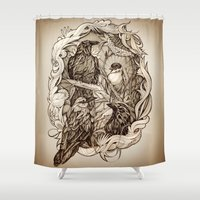 crow Shower Curtains featuring Crow by Alice Macarova