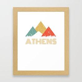 Retro City of Athens Mountain Shirt Framed Art Print