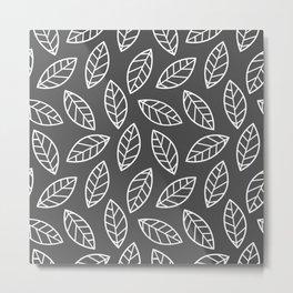 Leaves - Dark Gray Metal Print