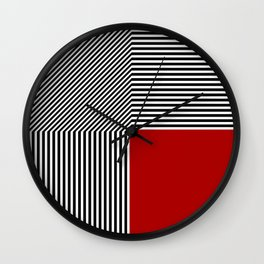 Geometric abstraction: black and white stripes, red square Wall Clock