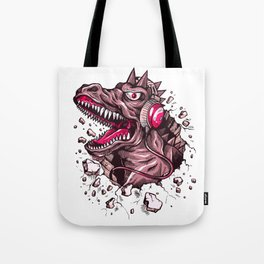 Dino with Headphones Puce Tote Bag