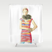 striped Shower Curtains featuring Striped Dress by Pani Grafik