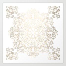 Mandala White Gold Shimmer by Nature Magick Art Print