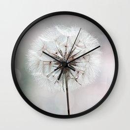 Delicate Dandelion Flower in soft light Wall Clock