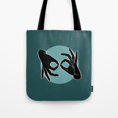 Sign Language (ASL) Interpreter – Black on Turquoise 07 Tote Bag