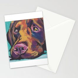 Fun Chocolate Lab Dog bright colorful Pop Art Labrador Stationery Cards