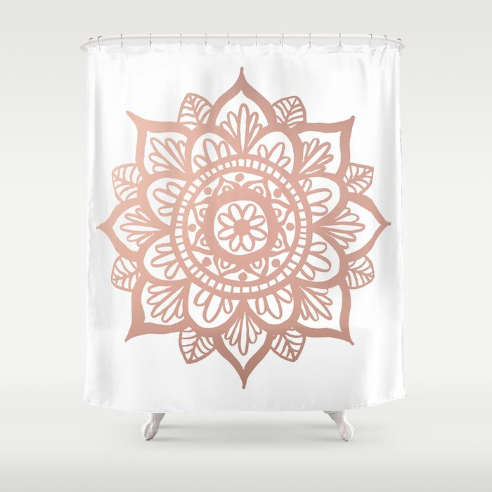 New Rose Gold Mandala Shower Curtain By Julieerindesigns