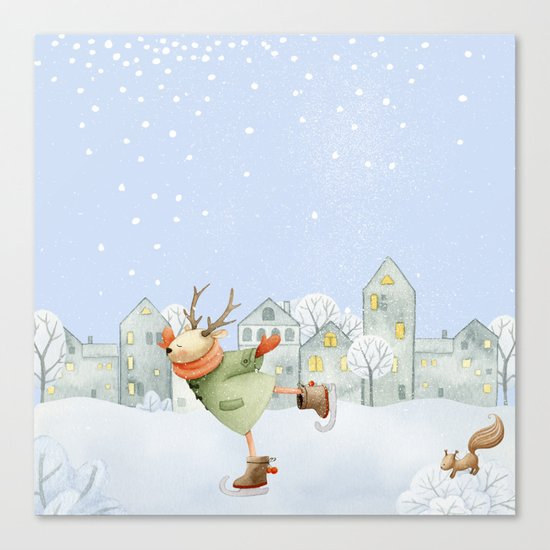 Merry christmas- Ice skating Deer and squirrel are having Winter fun Canvas Print