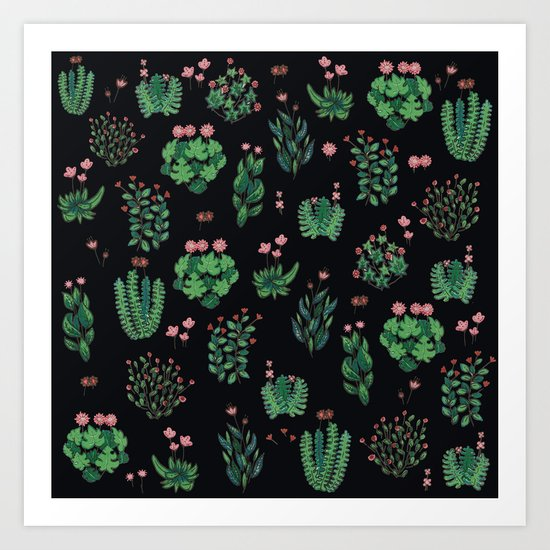 green and black garden with red flowers Art Print