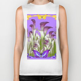 ART NOUVEAU PURPLE CALLA LILIES & BUTTERFLY FLOWERS ART Biker Tank