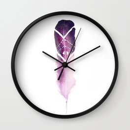 Purple Tribal Feather Wall Clock