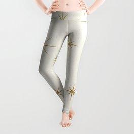 Seamless Pattern Glamorous White Gold Art Deco Stars Constellations Minimalist Geometric Pattern Leggings