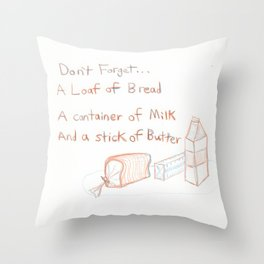 Loaf of Bread, a container of milk, and a stick of butter Throw Pillow