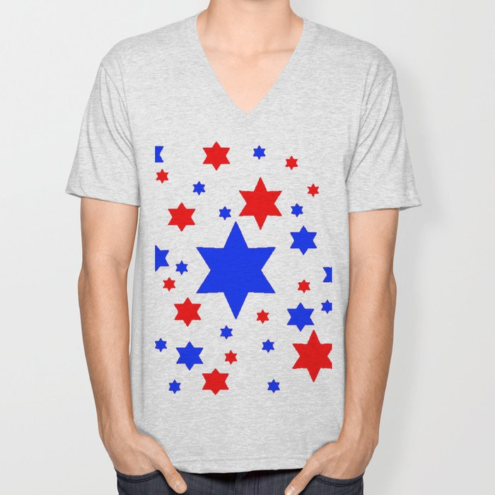 4TH RED & WHITE & BLUE STARS  DESIGN Unisex V-Neck