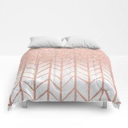 Modern rose gold glitter ombre herringbone chevron pattern on white marble Comforters