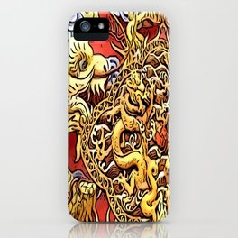 the dragon, in luck love golden iPhone Case