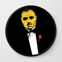 the godfather Wall Clocks featuring GODFATHER by miszkurka