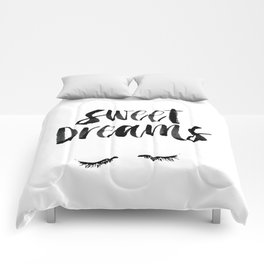 Sweet Dreams black and white contemporary minimalist typography poster home wall decor bedroom art Comforters