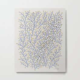 Berry Branches - Navy & Gold Metal Print