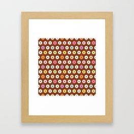 Kawaii Donuts Pattern on Brown Framed Art Print