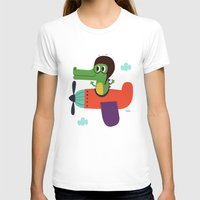 pilot T-shirts featuring crocodile pilot by Joanne Liu