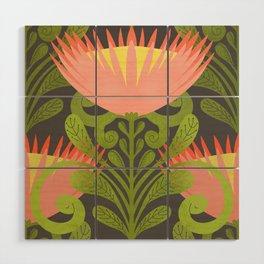 King Protea Flower Pattern - Gray Wood Wall Art