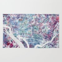 washington Area & Throw Rugs featuring Washington map by MapMapMaps.Watercolors
