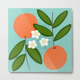 Oranges + Blossoms on Teal Metal Print