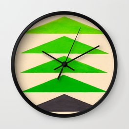 Colorful Green Geometric Triangle Pattern Wall Clock
