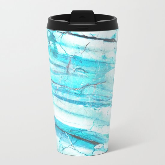 White Marble with Blue Green Veins Metal Travel Mug