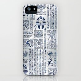 Egyptian hieroglyphs and deities abalone on pearl iPhone Case