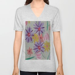 Rain Flowers Unisex V-Neck
