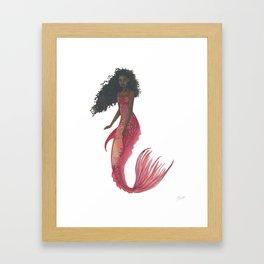 Red Mermaid Framed Art Print