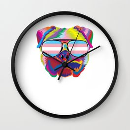 Gay Pride Transgender Psychedelic Pug Dog  design Wall Clock