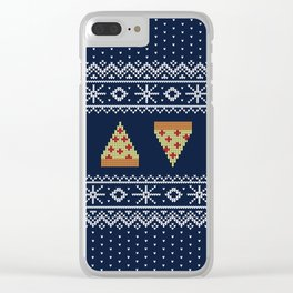 Ugly Christmas Pizza Sweater Clear iPhone Case