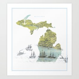 Ships Along the Shore - Michigan circa 1868 Art Print