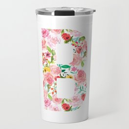 B botanical monogram. Letter initial with colorful watercolor flowers Travel Mug