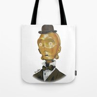 c3po Tote Bags featuring Sir C3PO by theMAINsketch