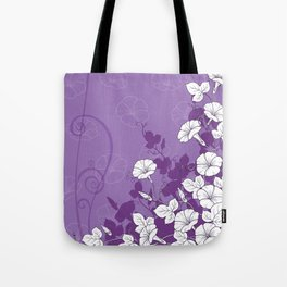 White Morning Glory Flowers with Purple Accents Tote Bag