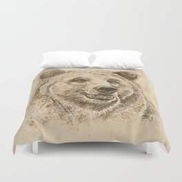 Grizzly Bear Greeting Duvet Cover