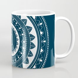 Ukatasana white mandala on blue Coffee Mug